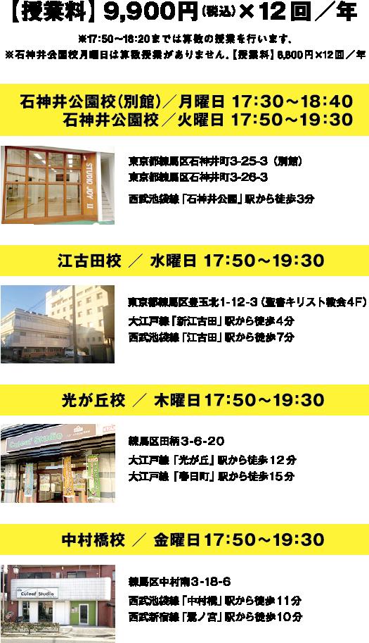 授業料金・日程